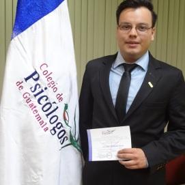 Constancia de calidad de Colegiado Activo. Colegio de Psicólogos de Guatemala.